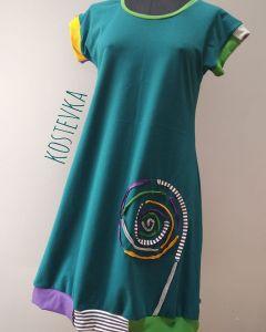 Unikatna oblekca Kostevka, velikost M, petrolej s spiralo