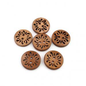 Gumb lesen, izrezljana rožica, 23 mm