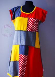 Unikatna oblekca Kostevka, velikost L, siva-rdeča-rumena s pikicami