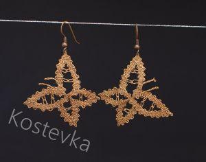 Unikatni klekljani uhani Kostevka, bakreni metuljčki