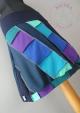 Unikatna kikla Kostevka, velikost M, jeans-modra-vijolična-turkizna z diagonalnimi linijami